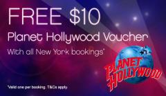FREE Voucher $10 para Planet Hollywood New York