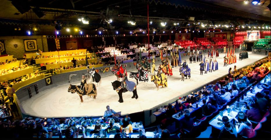 This highly entertaining dinner show in Kissimmee offers a fun experience for guests of all ages. Medieval Times Dinner & Tournament features an 11th-century-style castle, a royal court, jousting with costumed knights, exceptional horsemanship and falconry and special effects.